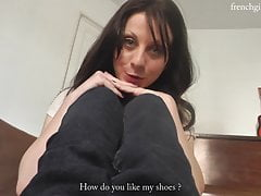 French Dark-haired Soles Joi On Couch