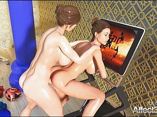 Lesbian futa 3d animation fiteness gym...