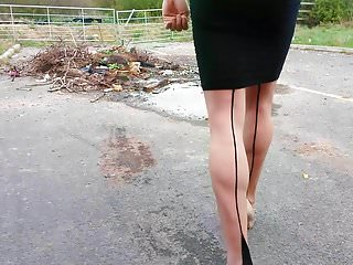 Walking heels seamed hold ups and tight black...