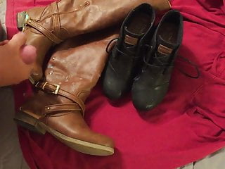 Wifes riding boots and black toms wedges booties...