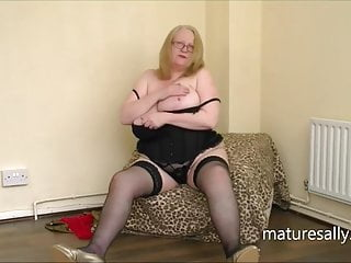 Sally strips down to her black holdups
