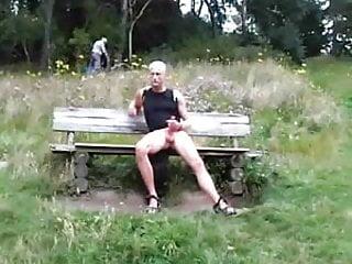 Exhibtionist caught wanking woods...