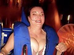 Big boobs on cam on park ride