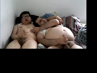 Chubby asian and his bear bf jacking...