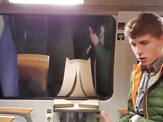 Young Twink Gets Horny In Train, Wank And Cum