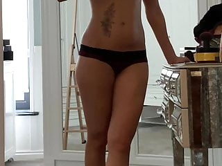 RECORDING my wife at home when she's showing her beauty tits
