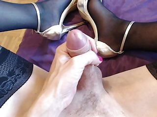 high heels cumshot and Sexy stockings
