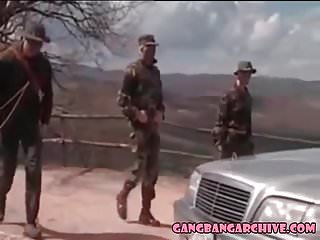 Gangbang archive orgy with 4 army guys...