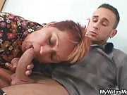 Old bag lures bf  into sex while his wife away