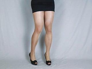 Nude pantyhose and black heels pt 2...