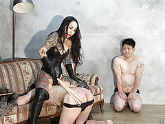 Japanese mistress Youko trains two slaves by spanking them
