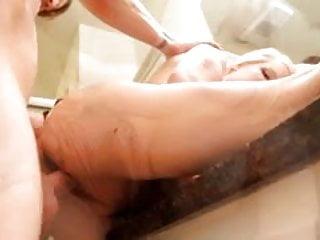 Fresh jizz on huge milf tits