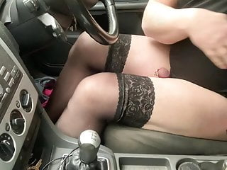 Wanking on driveway stockings panties caught out by postman