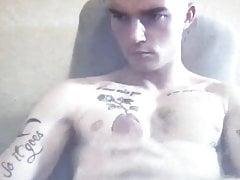 Hot tattooed dude busts a nut shoots a cum load big dick