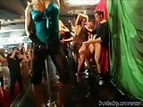 Slutty party chicks sucking cocks in club orgy