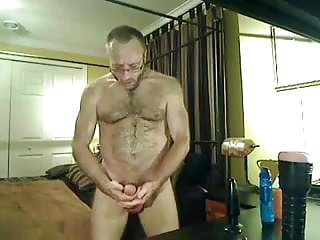 Hairy muscle daddy bear play...