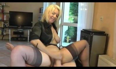 Hot Blonde Cougar heels and stockings gives a nice tug job!