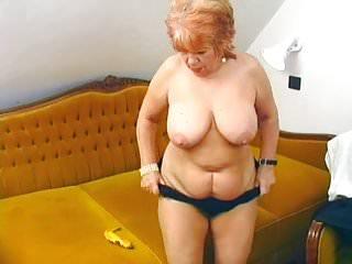 Granny fucks her old pussy with banana...