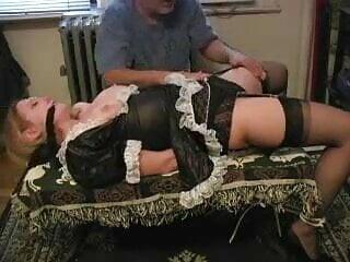 Big tit maid fondled in bondage scene