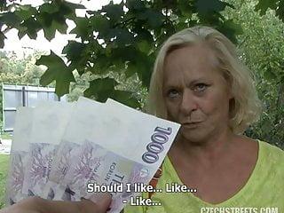 Granny czech streets casting money...