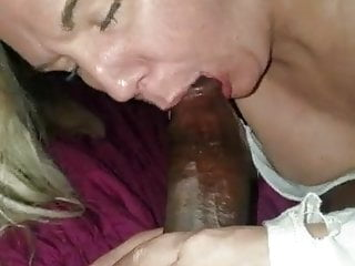 Blonde old bitch slurps big black cock