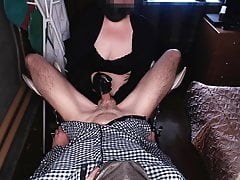 Curvy MILF jerks me off on the gyno chair