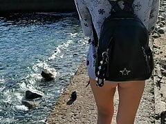 Barbie On the beach in public