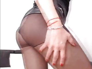 Bubble Butt Teasing In Leather Shorts And Pantyhose