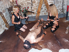 2 amateur dominas and their anal slave - amateur compilation