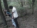Amateur sex film of lovers spied fucking in the forest
