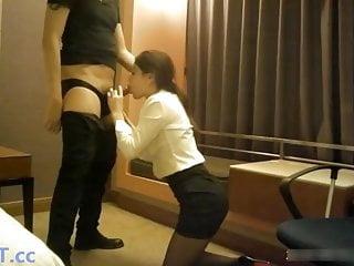 Chinese office slut fucks with boss...
