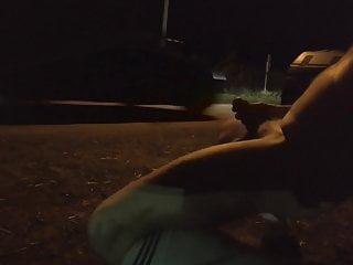 Slave naked socks sneaker outdoor at public road...