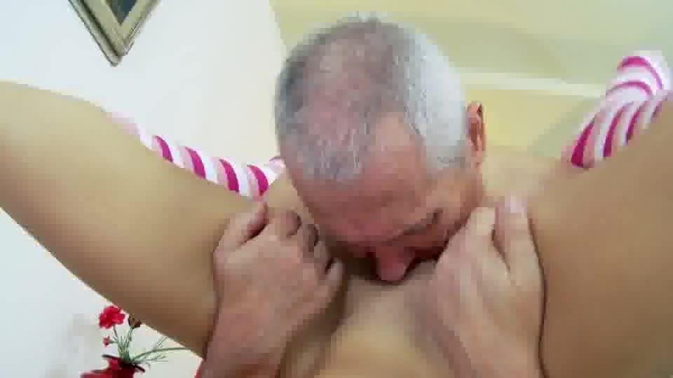 Old Man Fucks Blonde Stockings