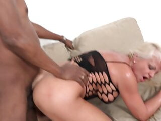 mature gilf has anal sex with big black cock - cum on face