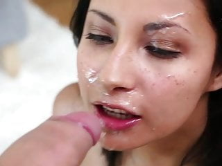 Blowjob Big Cock Handjob video: Yummy facial cum shower on pretty Jade Jantzen face