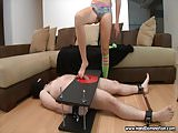 Sadistic mistress unleashes during femdom handjob