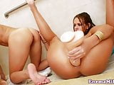 Enema les toys gaping ass after squirting