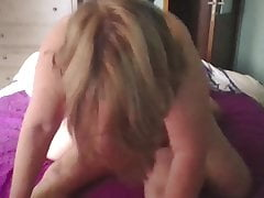 Her big tits are swaying on my cock and she enjoys