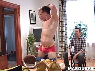 Mature gay Pascal enjoys watching a firefighter strip naked