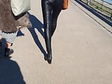 Leather pants teen ass very tight and skinny fit