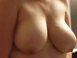 Wife covering her bbw body with black girdle...