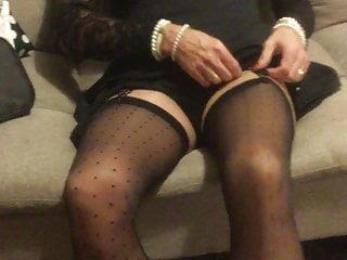 crossdresser putting on stockings and heelsHD Sex Videos