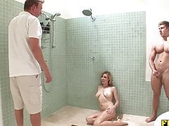 Shower Threesome With The Plumber