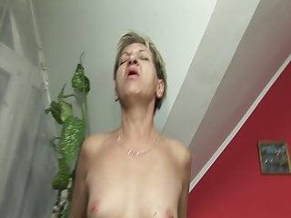 Skinny granny rims his ass
