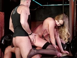 Lucy Heart black stockings anal threesome