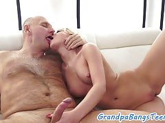 Teen babe bounces on oldmans hard cock