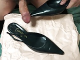 Cum in her shoes ! (Chanel black slingback heels)