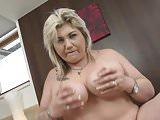 Mature petite fat mom feeding her pussy