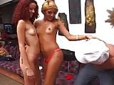 Blonde Shemale & Redhaid girl and another lucky guy