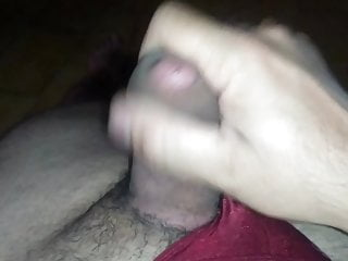 Masturbation and cum – thick cock in red thong
